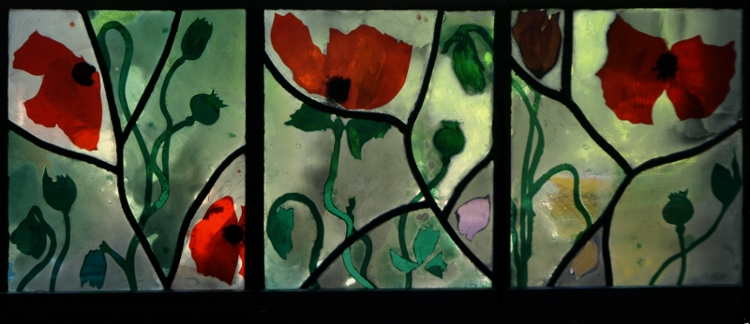 image of stained glass panel: Poppy Triptych